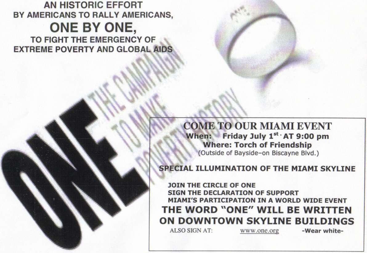 ONE Campaign -- Miami, FL  --  July 1st, 2005